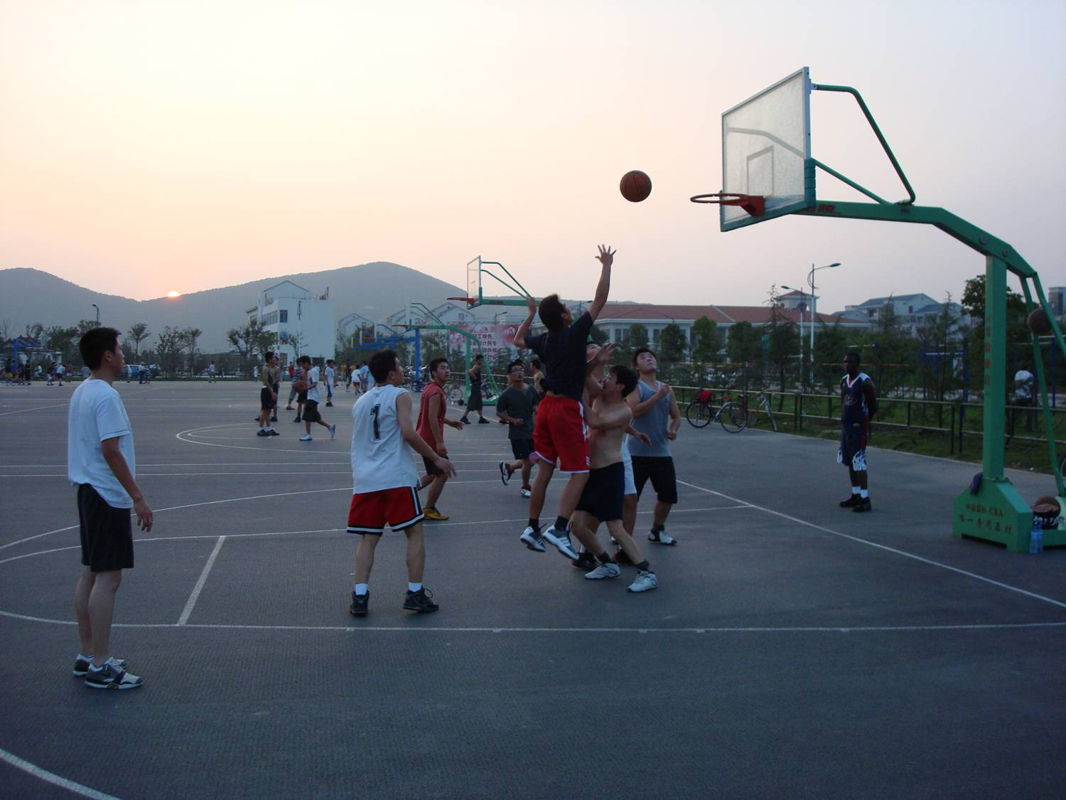 outdoor basketball practice,  Jiangnan University,  Wuxi,  China