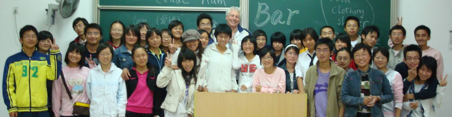 David Scott with students in an English Corner,  Jiangnan University,  Wuxi,  China