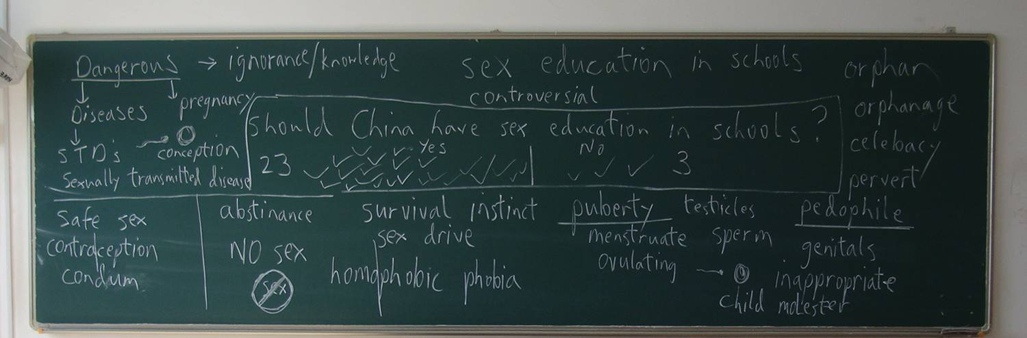 A vot of 23 to 3 in favour of sex education in Chinese schools.  Came as a surprise to me.  Jiangnan University, Wuxi, China