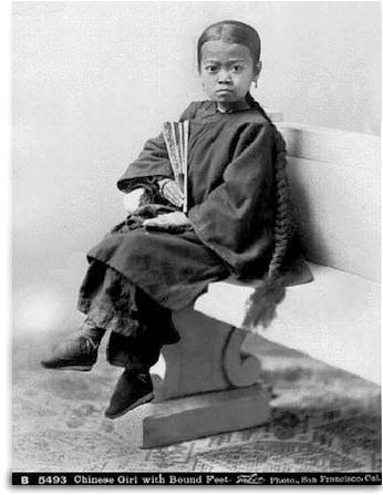 Chinese girl with bound feet, lifted from an article by James A. Cirtes.