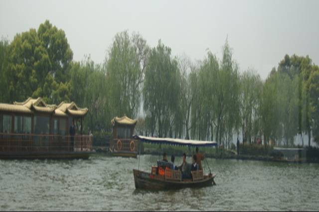 View from the tour boat window on West Lake,  Hangzhou, China