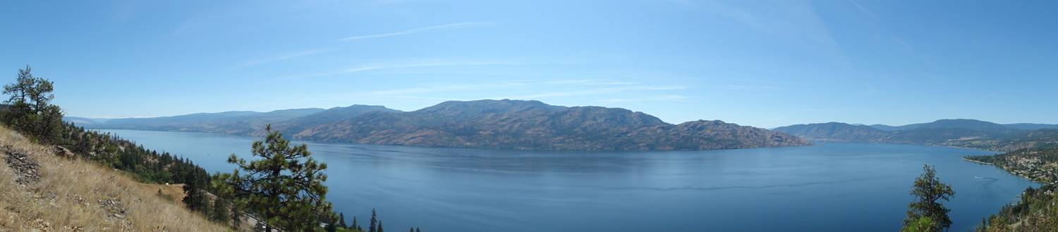 Picture: The panorama view from Sheila's contemplation spot overlooking Peachland and Okanagan Lake.  B.C., Canada
