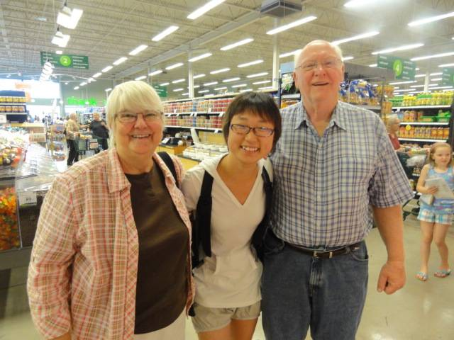 Picture:  a chance meeting far from home.  Darlene and Ken recognized Panda in the shopping center.  Maple Ridge, B.C.
