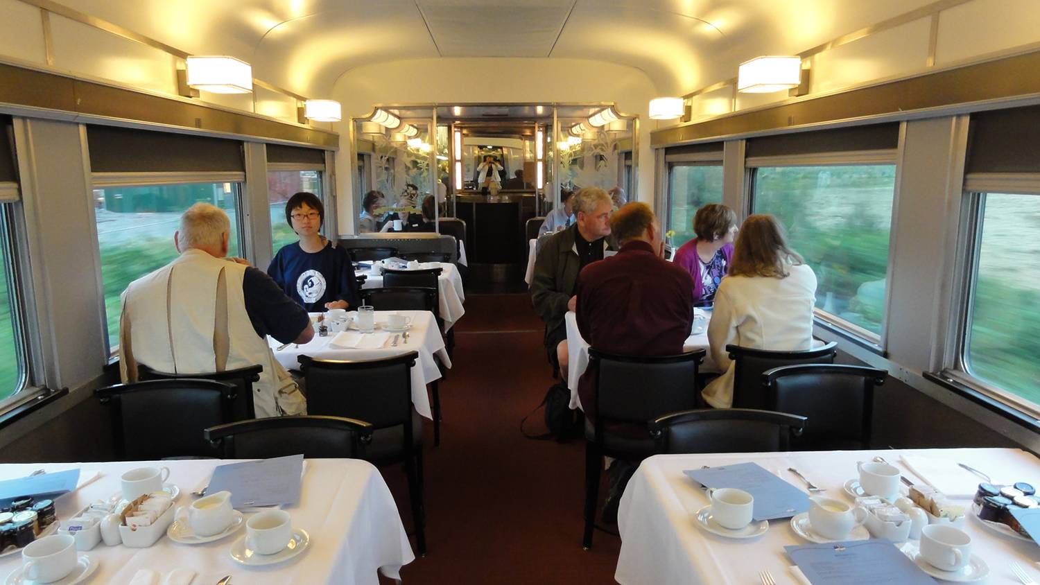 Picture:  Breakfast a six in the dining car, Via Rail, Canada