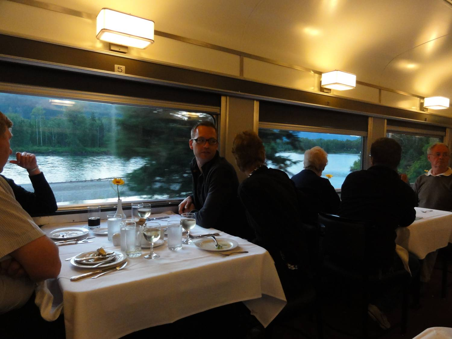 Picture:  Breakfast in the dining car at dawn.  Via rail is a great way to see Canada.