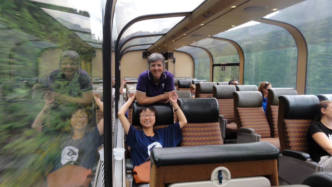 Picture:  Ruth and Panda in the panorama car as we head into the mountains from Jasper on Via Rail.
