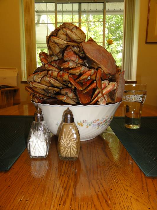 Picture:  Stack of crabs from Gibsons Landing, B.C. Canada.  A great feast for breakfast.