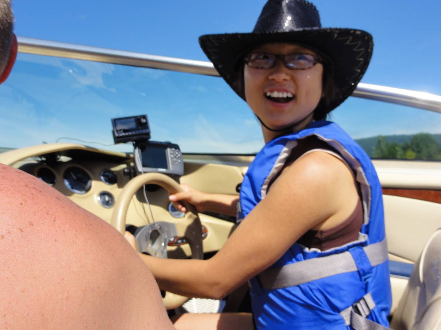 Picture:  Panda had her turn at the helm on the Fraser River, B.C., Canada
