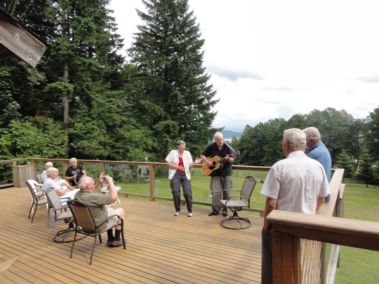 Picture:  Performance time.  Darlene and Ken's place in Ruskin, B.C., Canada