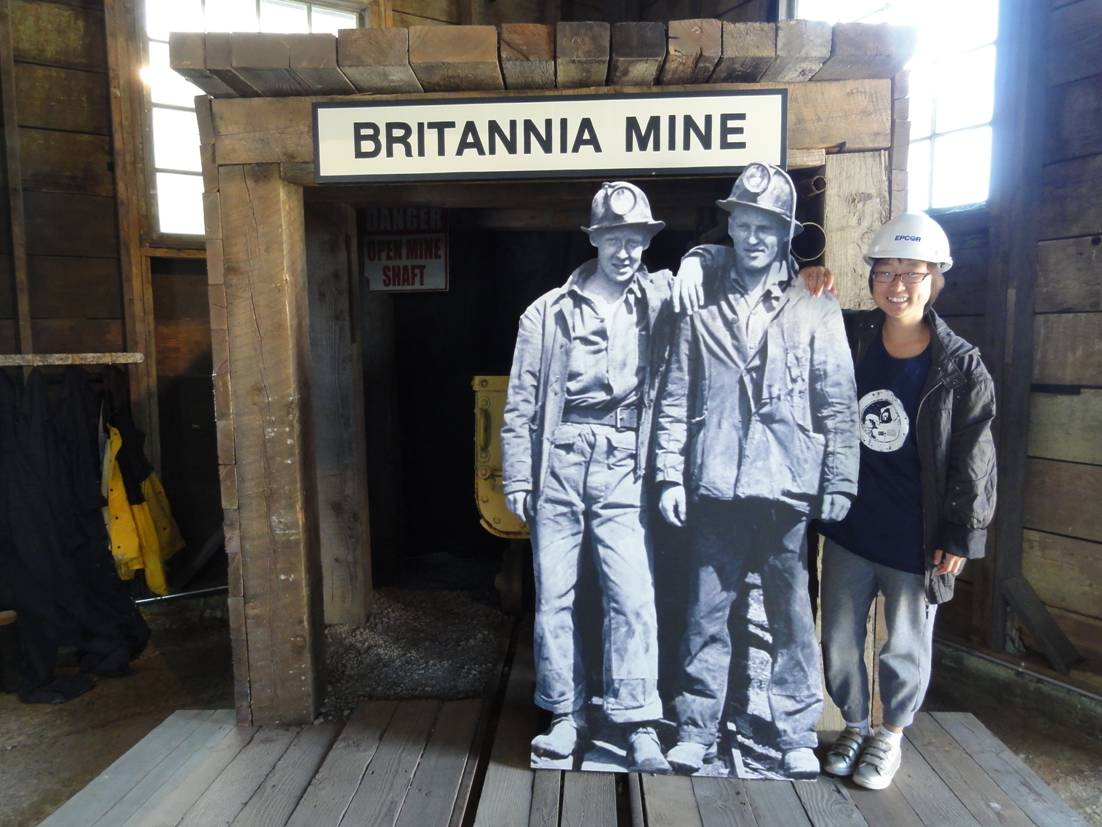 Picture:  Panda with the hard rock miners, or facimile thereof,  at Britannia Mines museum, B.C., Canada