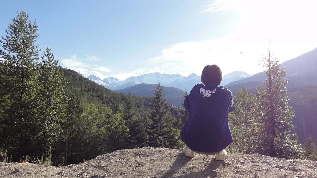 Picture:  Panda takes in the view on the Sea to Sky Highway, B.C., Canada