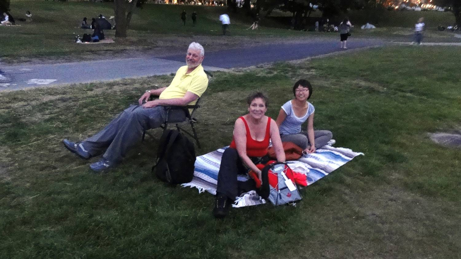 Picture:  Festival of Fire, Vancouver.  We got there early enough to find our spot of grass from which  to watch the show.