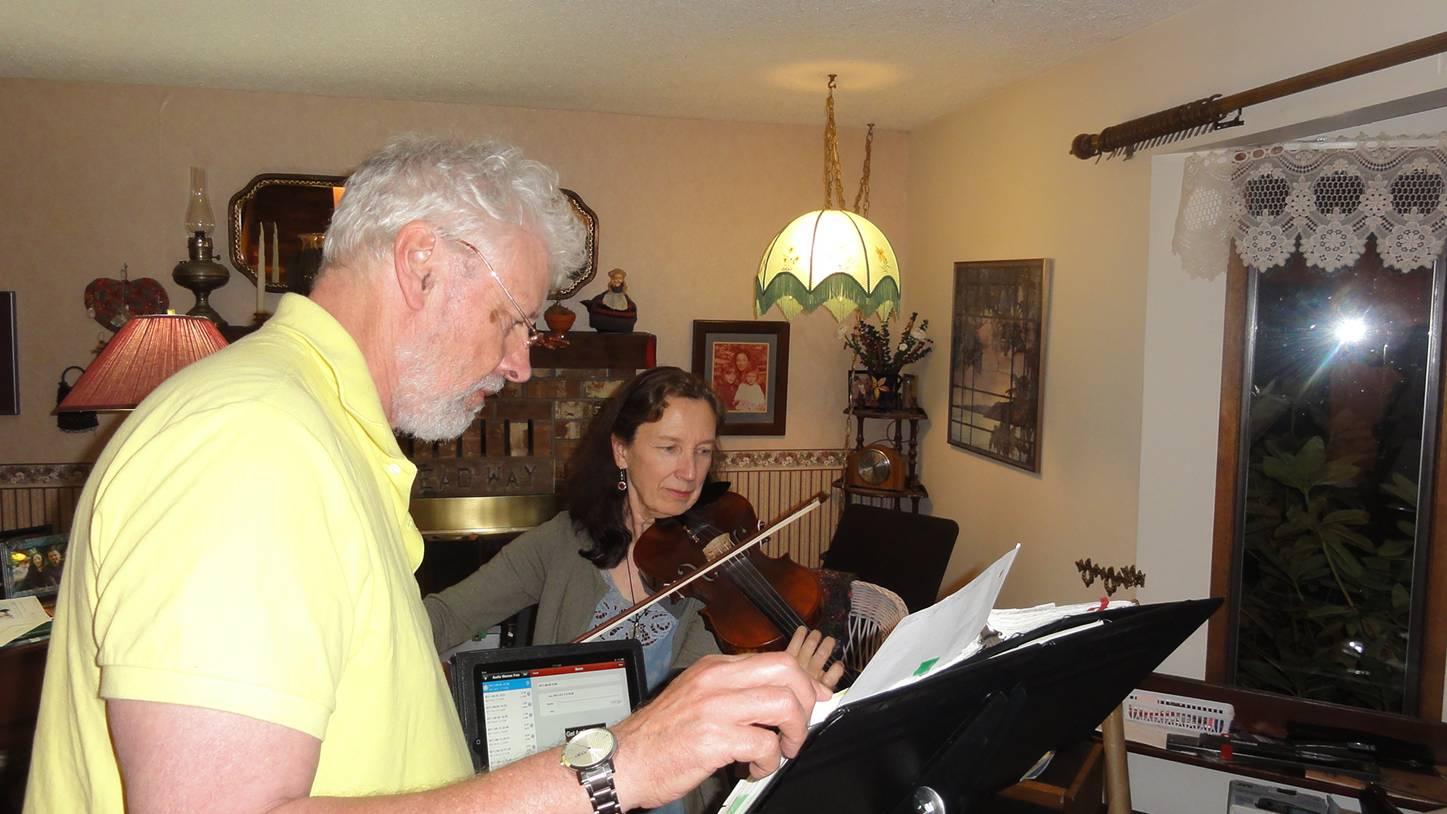 Picture:  Marjorie Cullerne gives me my annual violin lesson.  Parksville, B.C., Canada