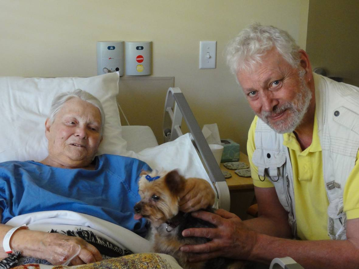 Picture:  At the hospice, mother revived enough to enjoy a visit from Jeordie, her Yorkshire terrior.  Maple Ridge, B.C.