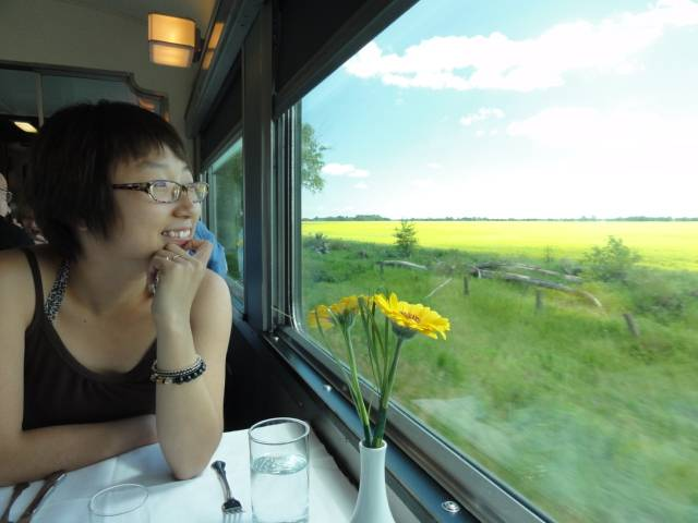 Picture:  Panda enjoys the view from the dining car.  Via Rail.