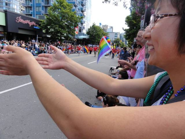 Picture:  Spectators at the Vancouver Pride parade 2011.  Vancouver, B.C.