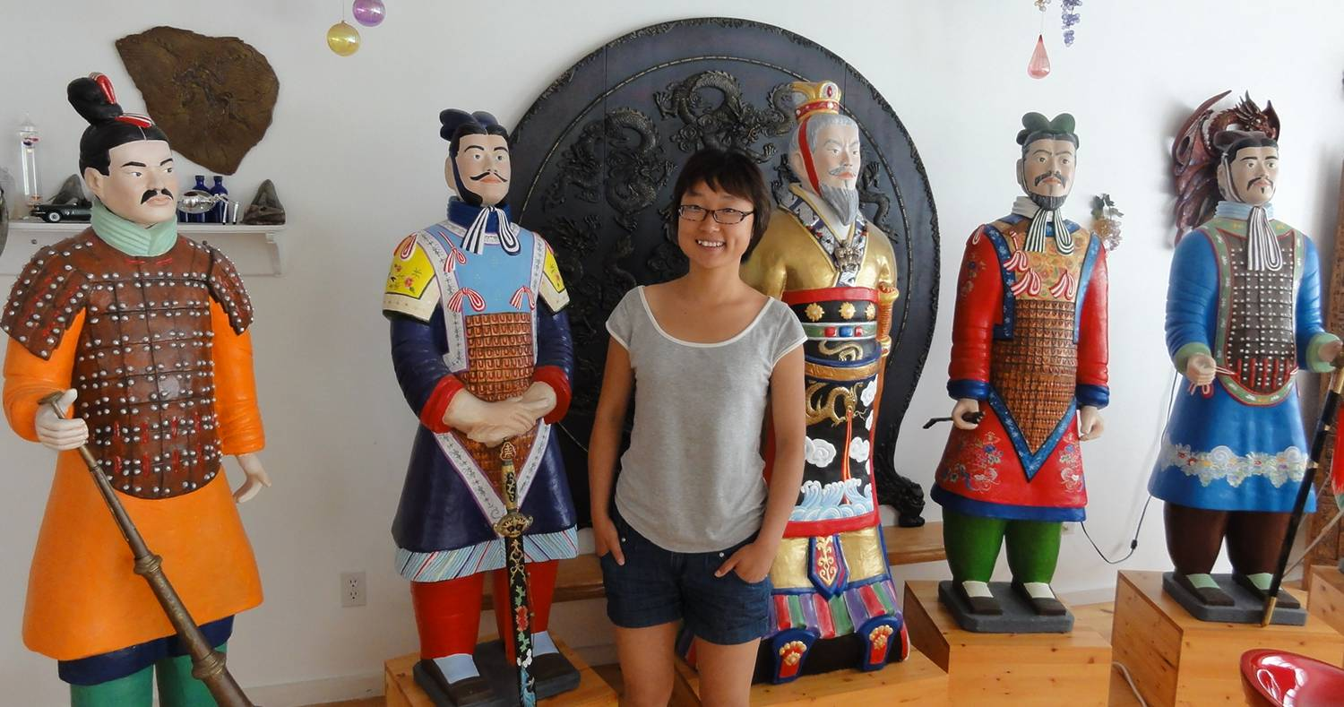 Picture:  Panda with my friend Madeleine's hand painted terra cotta warriors.  Nanoose, B.C.