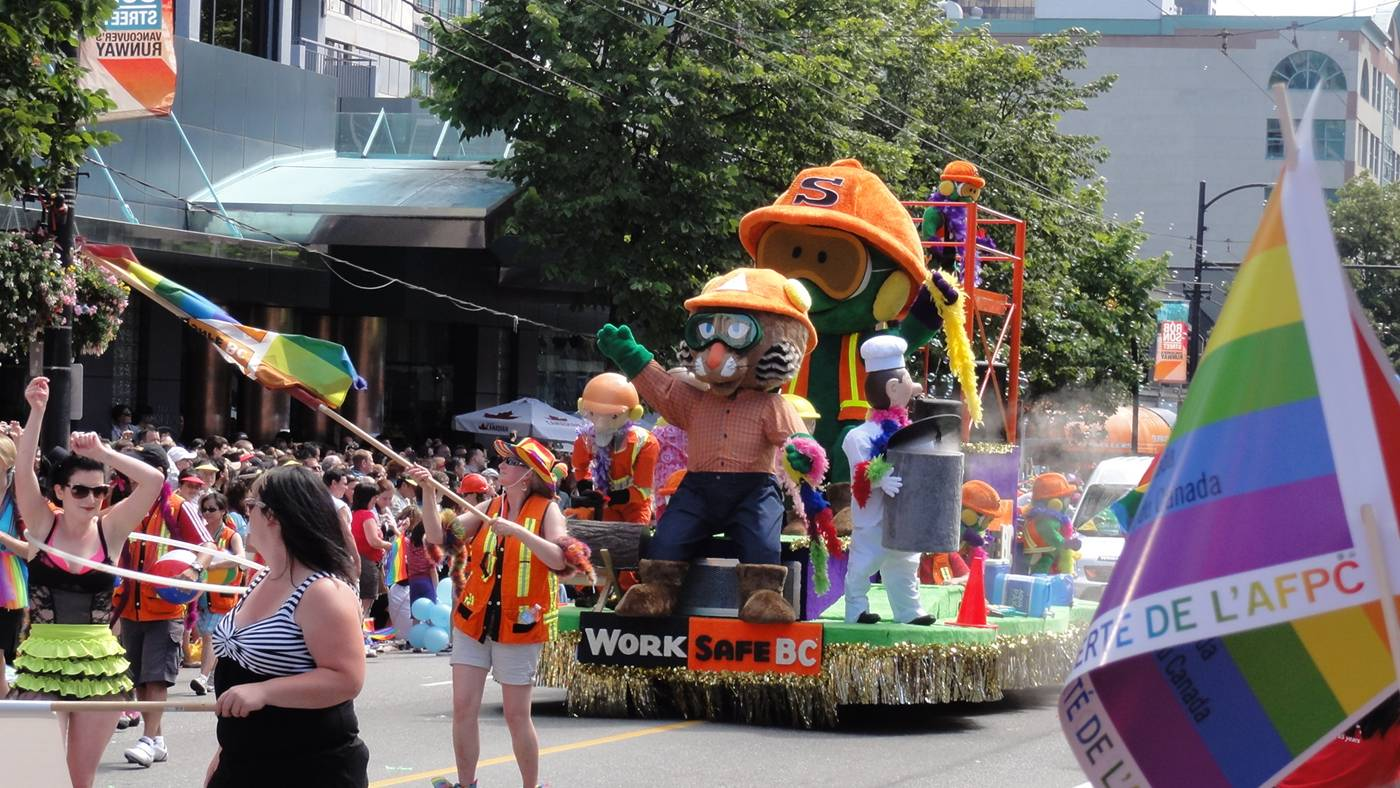 Picture:  the Work Safe float at the Pride Parade, Vancouver 2011
