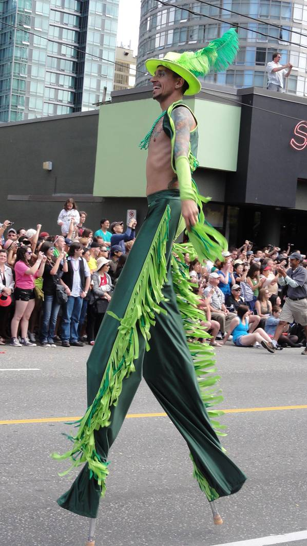Picture:  Stilt walker at the Pride Parade, Vancouver 2011
