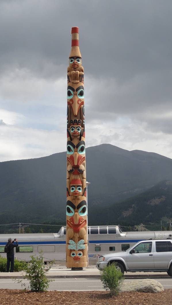 Picture:  the totem at the Jasper train staion.  Via Rail.