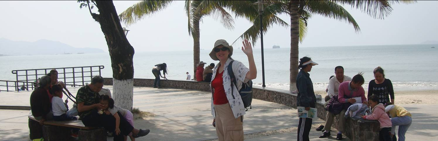 Picture:  Ruth about to hit the beach in Sanya, Hainan Island, China