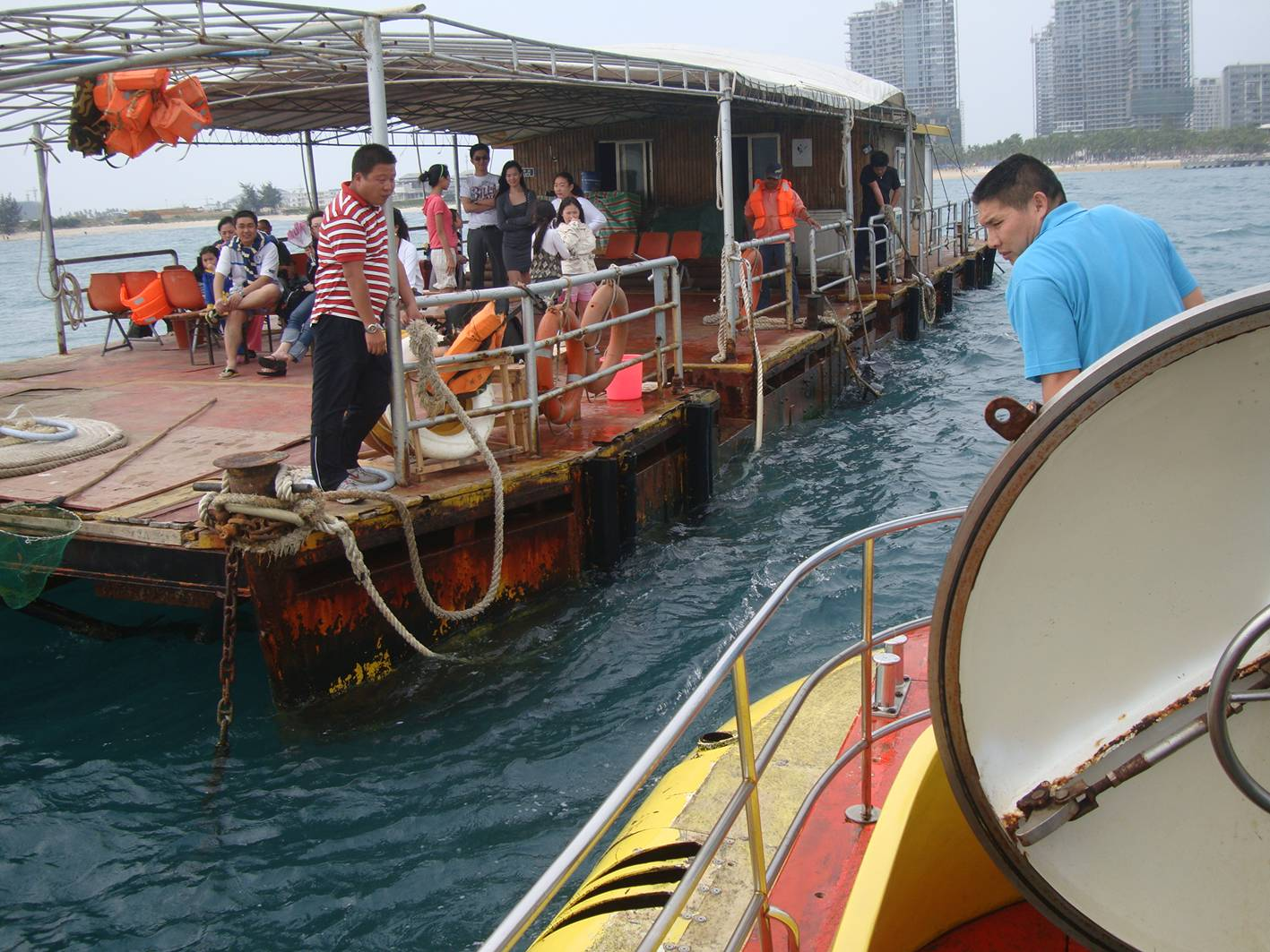 Picture:  Our submarine returns to the dock.  Sanya, Hainan Island, China