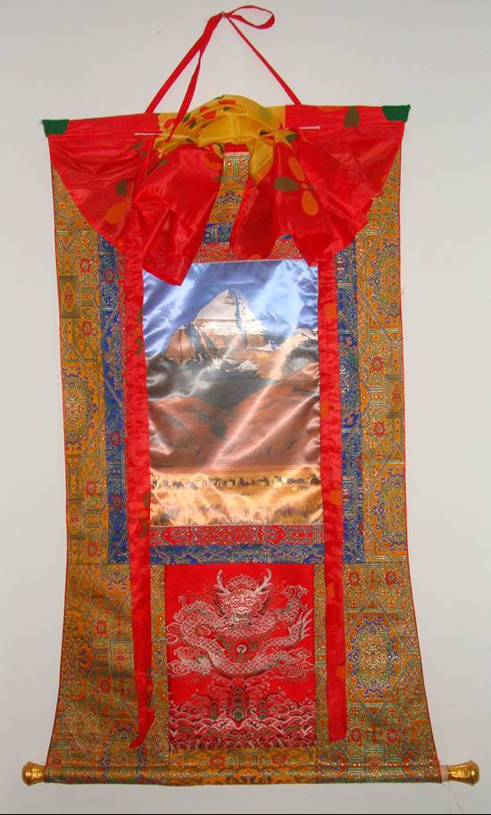 Picture:  Tibetan silk wall hanging.  Beautiful.  A gift from our Tibetan English Club members.  Jiangnan University, Wuxi, China