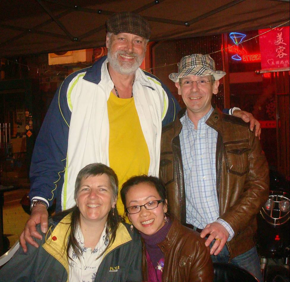 Picture:  David and Patrick,  Ruth and Xiao Hua in a bar in Nantong, China