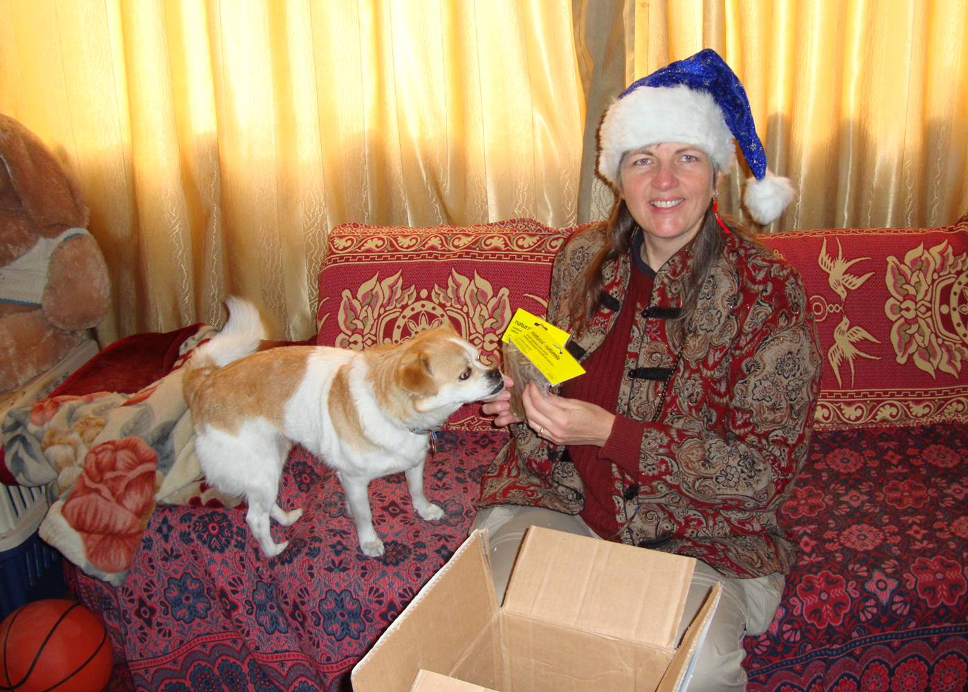 Picture:  A Christmas package from Ruth's family.  They never forget GouGou. Jiangnan University, Wuxi, China