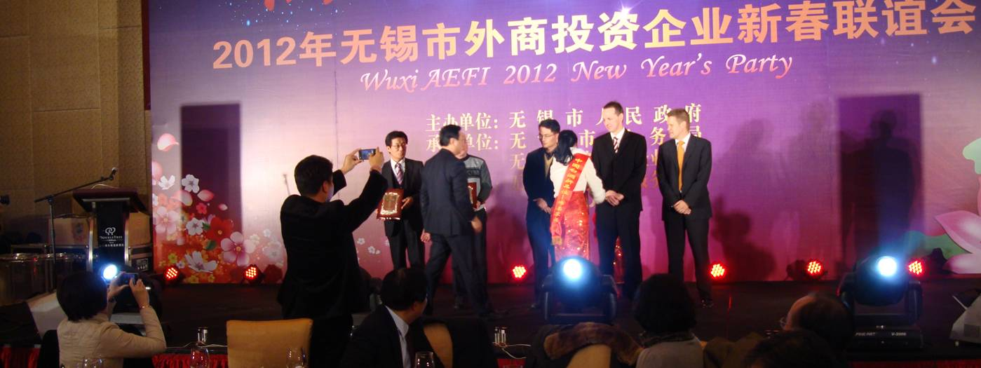 The speeches and awards were mercifully brief, and then we got to the food.  AEFI New Year's PArty, Wuxi, China