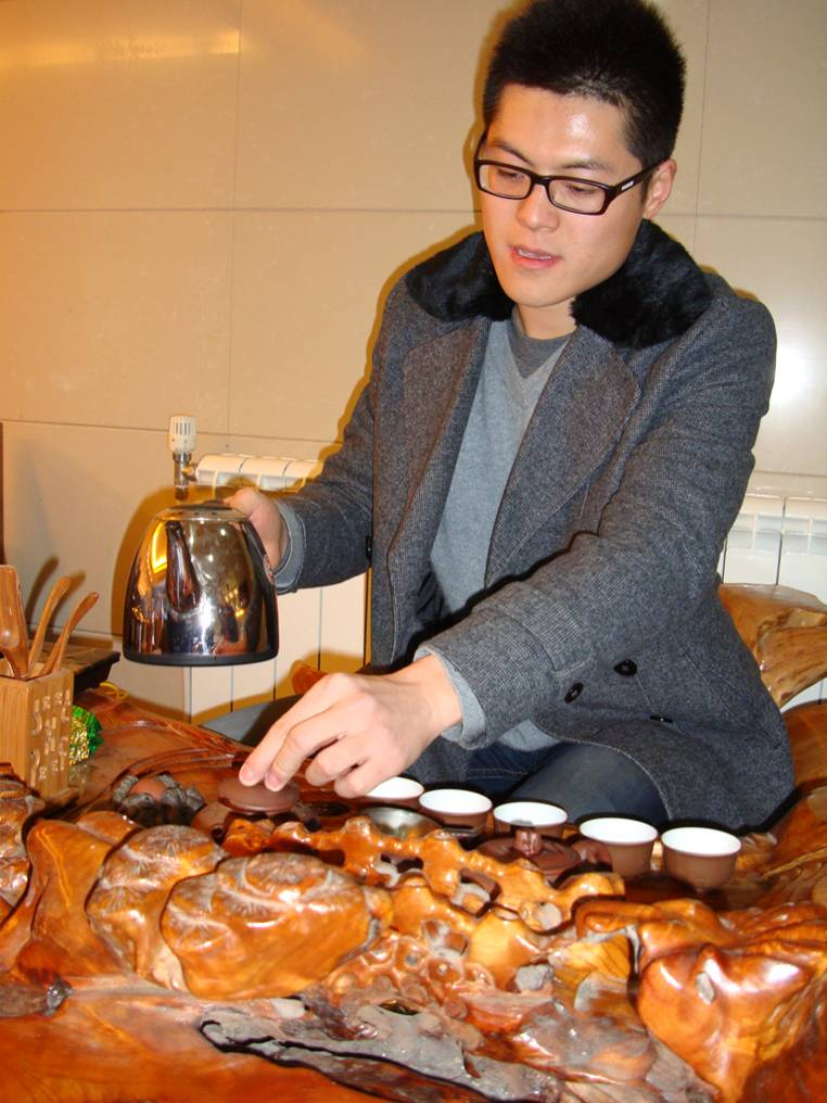 Picture:  Christmas Day, Wang Tao introduced us to Gong Fu Cha, special slowly prepared and enjoyed tea.  Wuxi, China