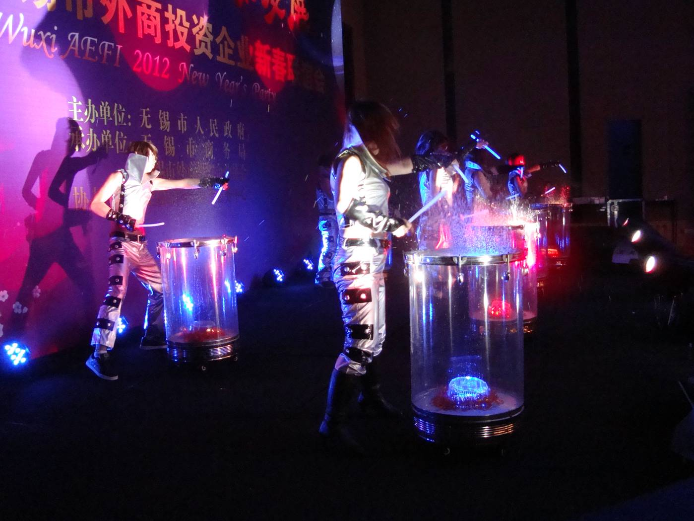 A quarter inch of water on the drum heads added a lot to the theatricality of the water drum performance.  Wuxi, China