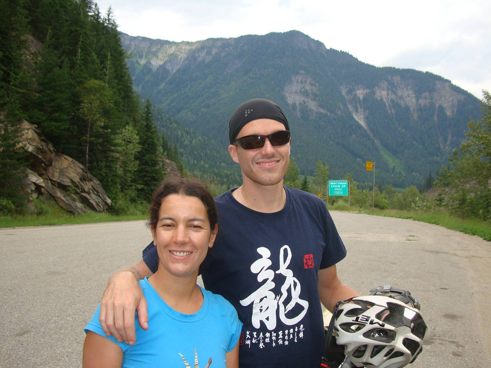 They began their trip in Bangkok, and rode the tandem bike through China.  Here they are heading for Jasper,B.C.