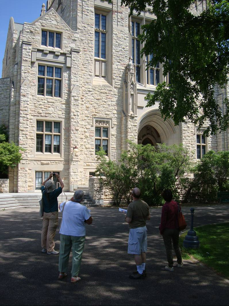 Picture:  Touring the University of Saskatchewan, we checked out the gothic lines of the physics building.