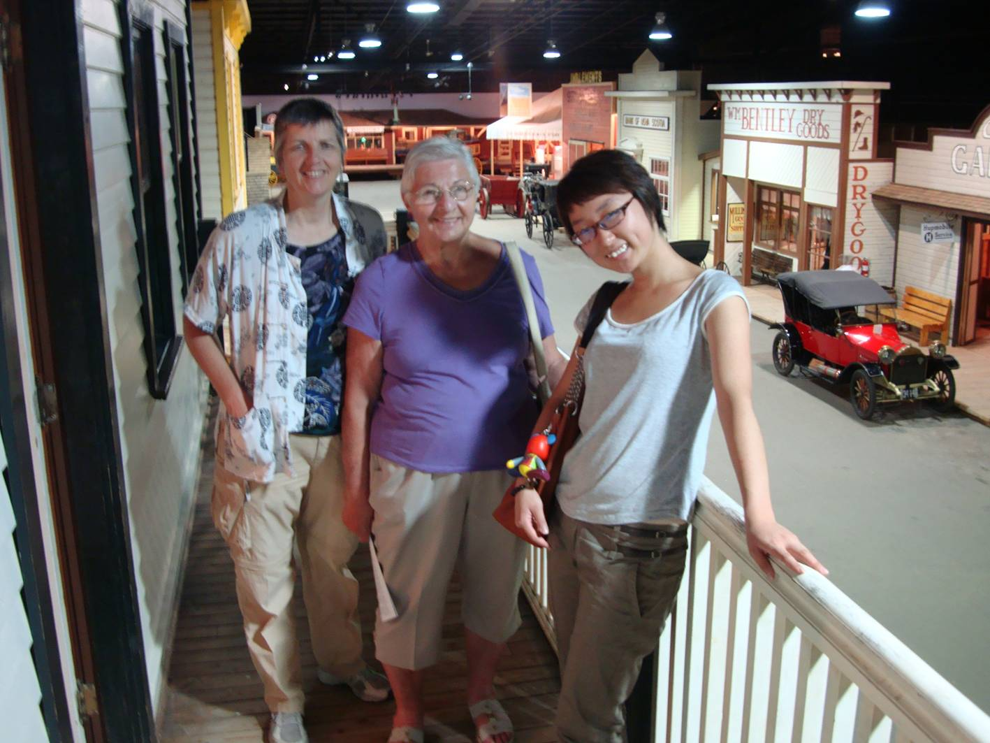 Picture:  Ruth, Pat, and Panda above the street in Boomtown within the Western Development Museum in Saskatoon.