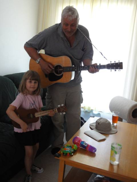 Picture:  Scott's daughter and David jam.