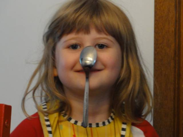 Picture:  The eldest daughter hangs a spoon on her nose.  No glue.  No hands.