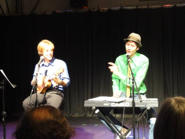 "Picture:  Shelby and Vinnie perform as ""The Magnificent Humble Boys"" at the Winnipeg Fringe Festival."