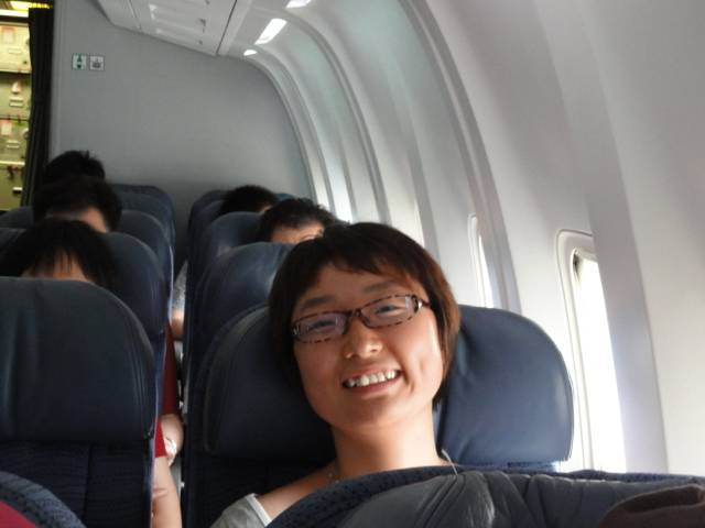 Picture:  Panda in her seat on AC flight to Vancouver.