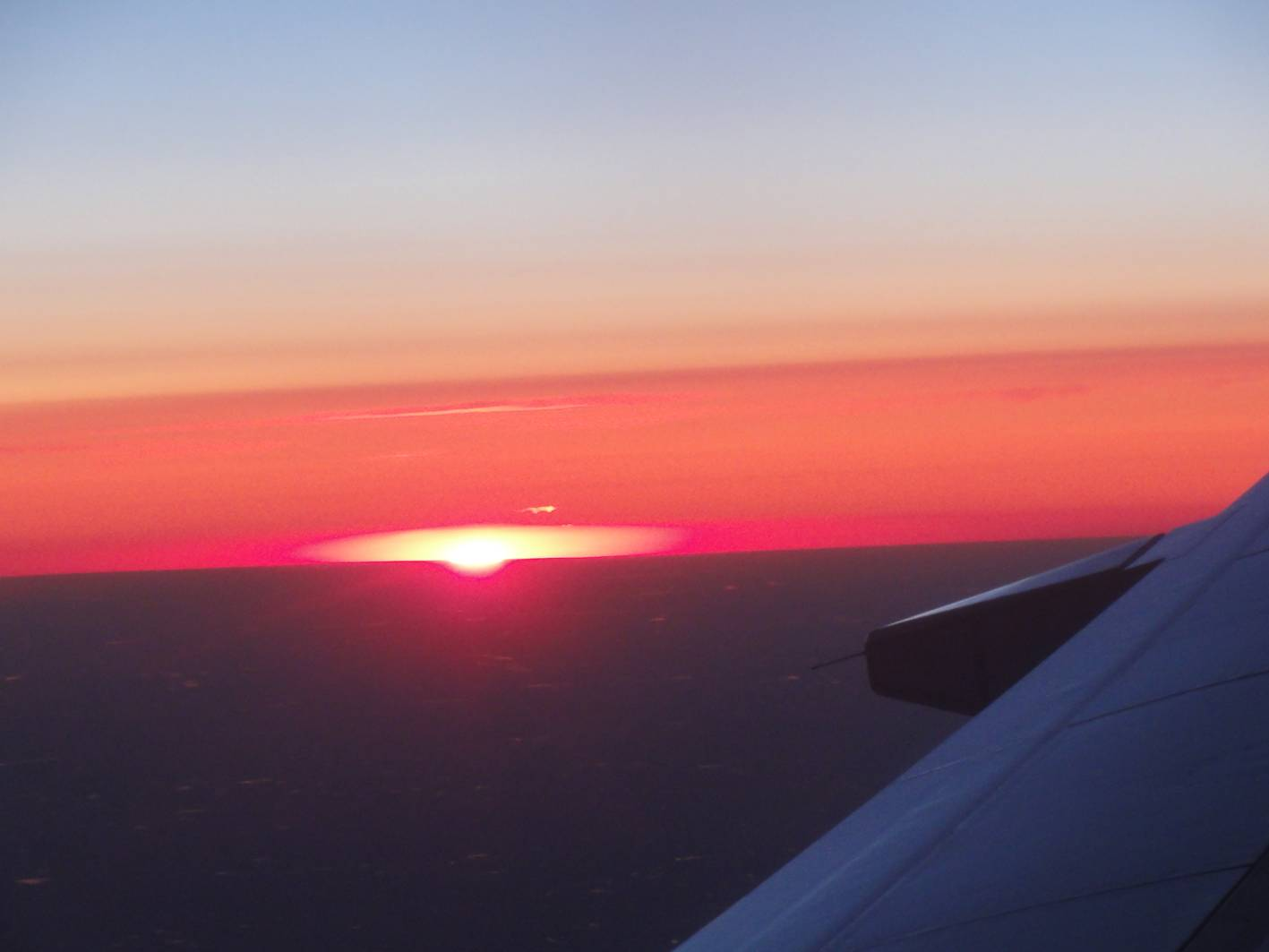 Picture:  Sunset on the flight from Vancouver to Winnipeg.
