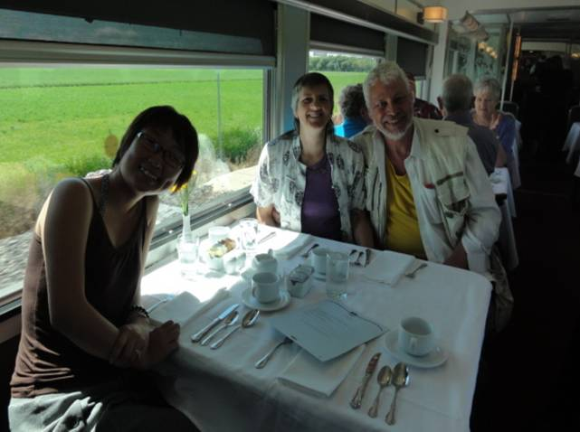 Picture:  Dinner in the dining car on Via Rail as we cross the wide prairies.  Saskatchewan, Canada