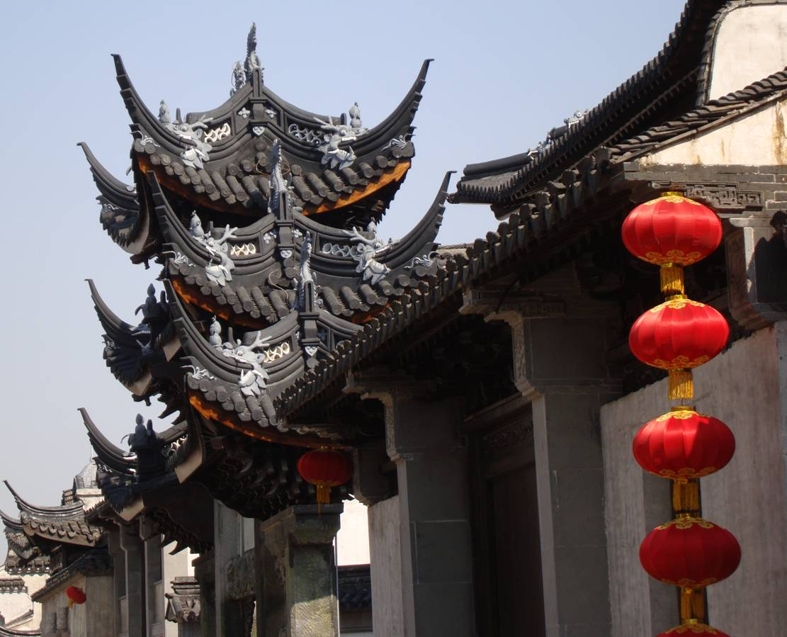 Picture:  A tower of dragons.  Wuxi old city.  Wuxi, China