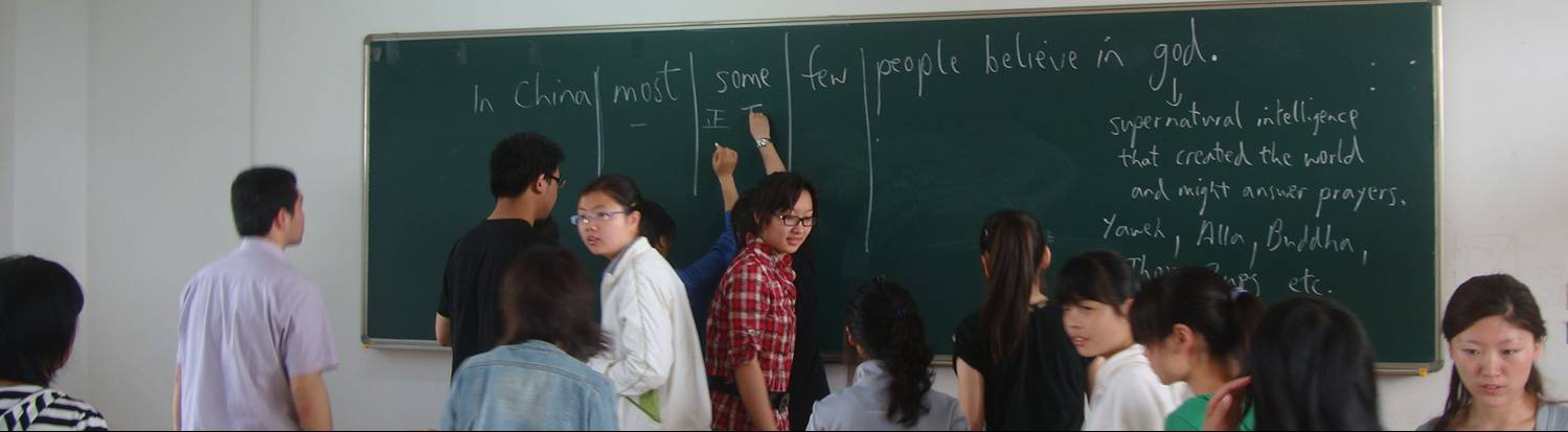 Students participate in another informal poll, Jiangnan Univeristy, Wuxi, China