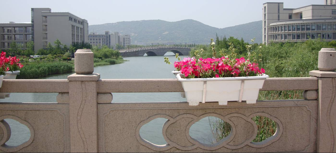 Picture: They''ve put flower baskets on our bridge.  Flowers are everywhere now.  Jiangnan University, Wuxi, China