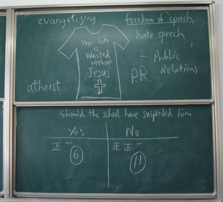 Picture:  A class poll on the blackboard.  11 to 6 saying the school made a mistake to suspend the student for wearing a Jesus Freak T-shirt.  North American College of Jiangnan University, Wuxi, China