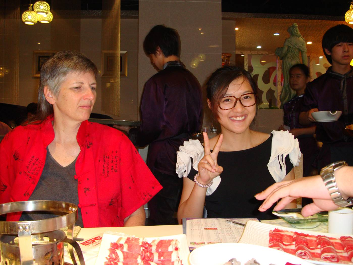 Picture:  Ruth and Katherine at our hotpot dinner.  Wuxi, China