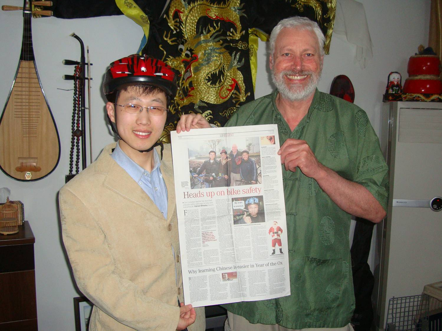 William and David,  Jiangnan Universisty, Wuxi, China. William's younger brother wanted a picture of the China Daily article.