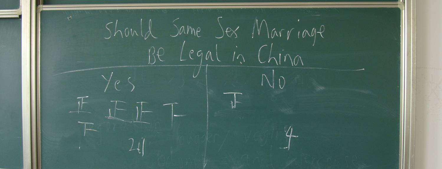 Picture: Blackboard informal poll on same sex marriage in China.  More liberal than I expected.  Jiangnan University, Wuxi, China