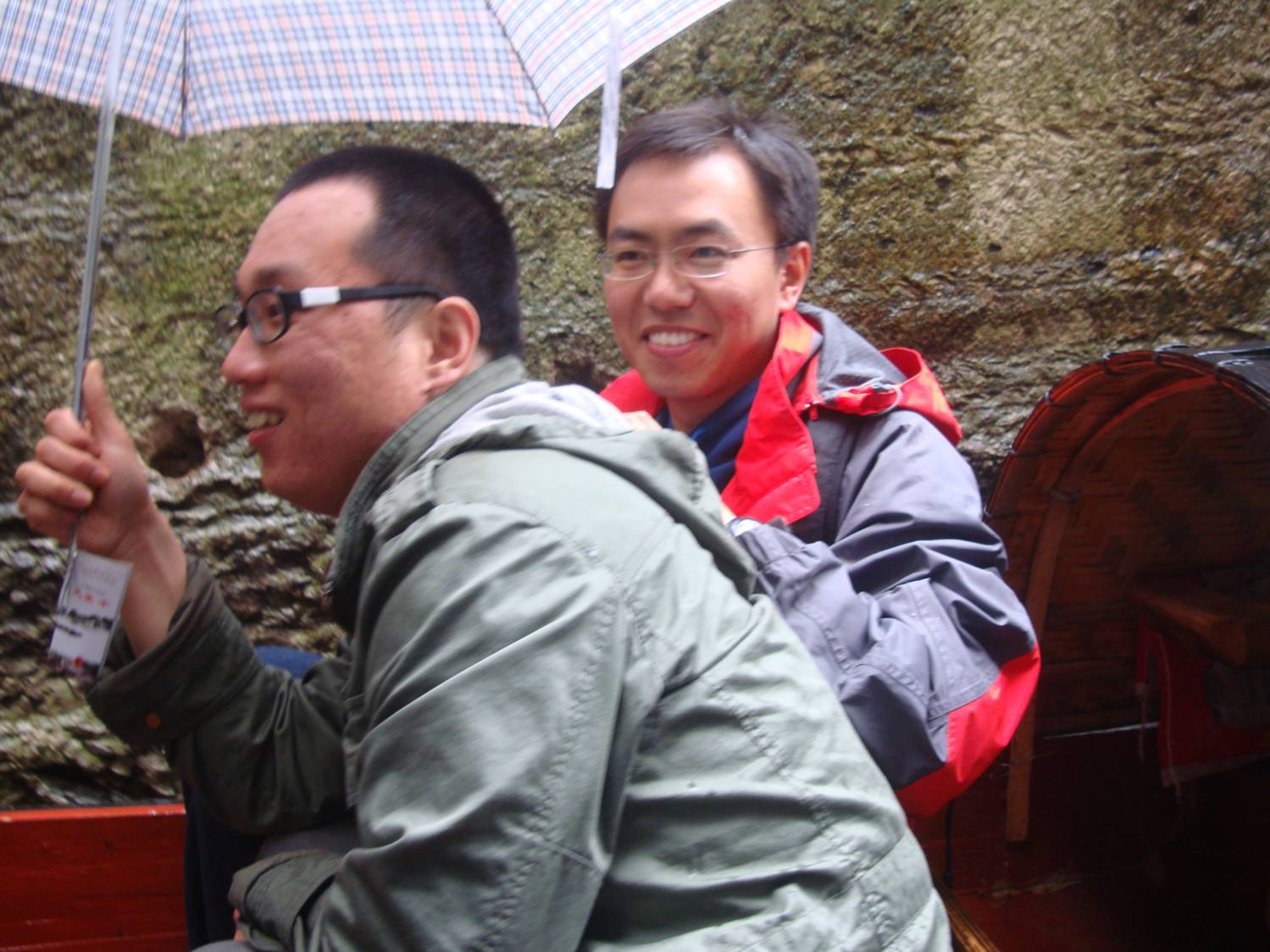 Picture:  It was a bit rainy, but not cold.  So we all enjoyed our boat ride on Donghu (East Lake).  Shaoxing, China