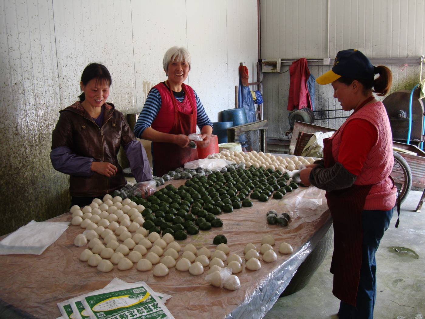 Picture:  The gang at work in the packing shed, readying the tuanzi for market.  Yang Shan, Wuxi, China